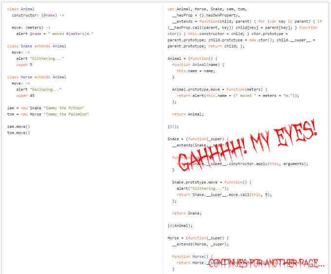 CoffeeScript versus JavaScript for Inheritance